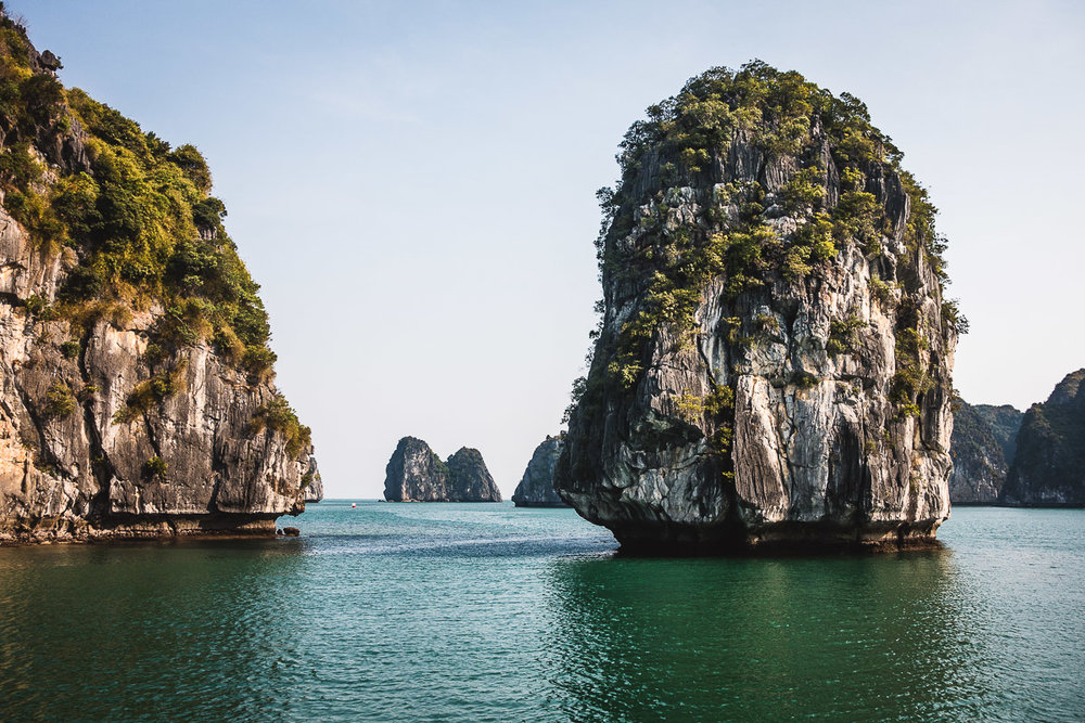 The rock formations rising vertically from the sea in the Halong Bay area are very unique.