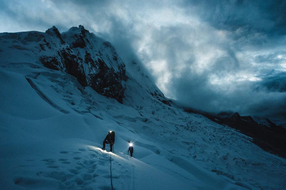 Dawn on the Ascent of Pisco (5765m), Cordillera Blanca, Peru