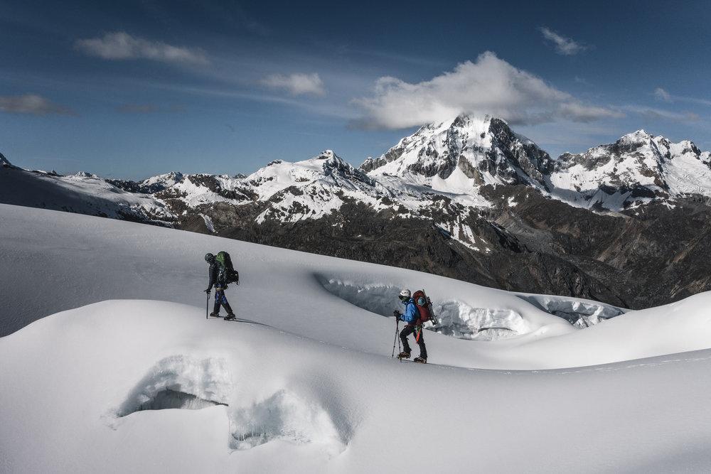 Ascending to High Camp 2 on Tocllaraju (6032m), Cordillera Blanca, Peru