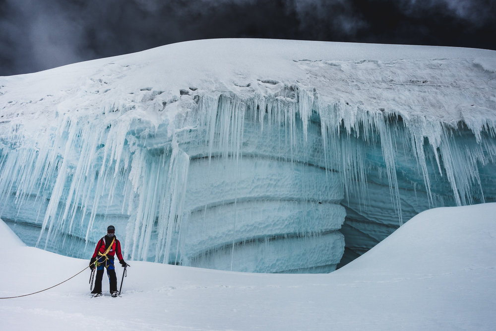 Ice walls high on Tocllaraju (6032m), Cordillera Blanca, Peru