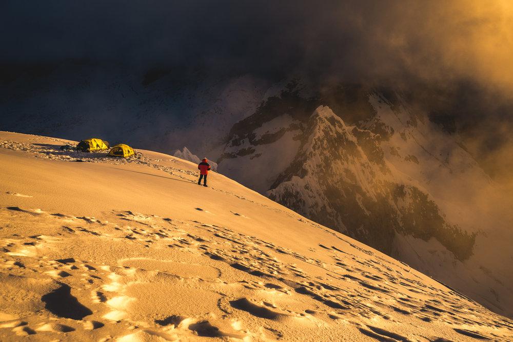 Sunset in High Camp on Chopicalqui at 5750m, Cordillera Blanca of Peru