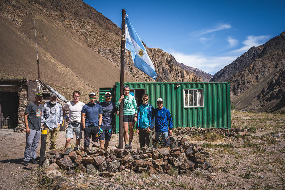 Our team with guides at the entrance of Parque Provincial Aconcagua in Punta de Vacas