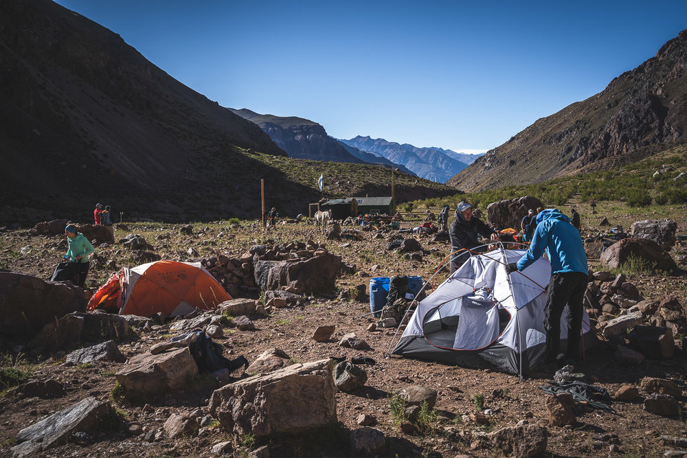 Setting up our expedition tents for the first time