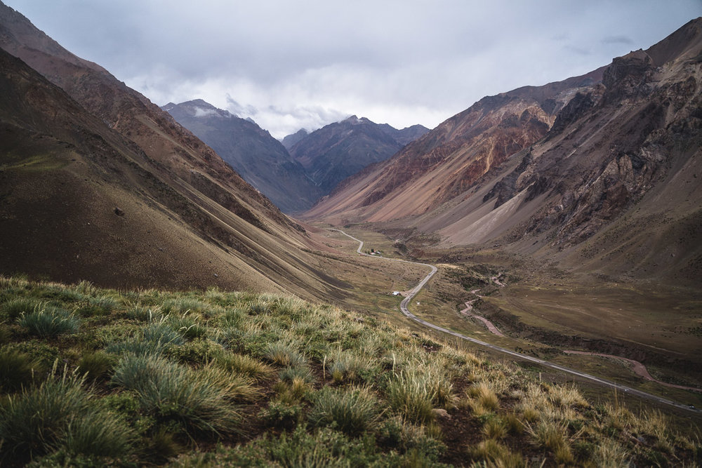Afternoon hike from Penitentes - Looking onto the road from Mendoza