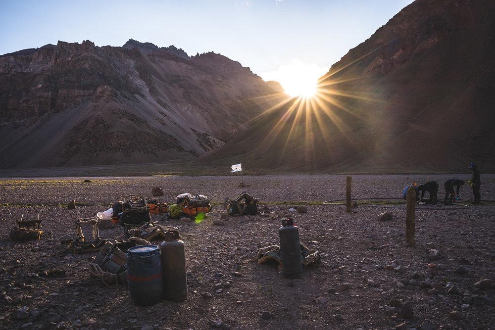 Last sunrays in camp