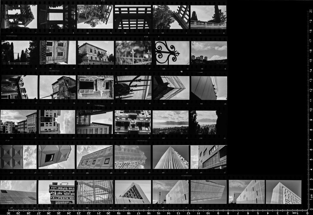 1st Ferrania P30 Alpha contact sheet (inverted to positives)