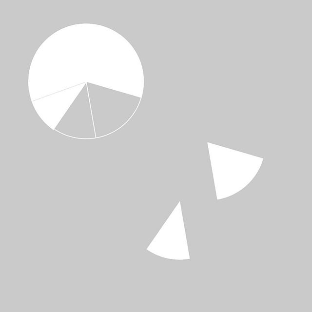 Pie chart falling apart #workinprogress #sand #sandstudio #graphics #design #graphicdesign #minimal #white #grey #pie