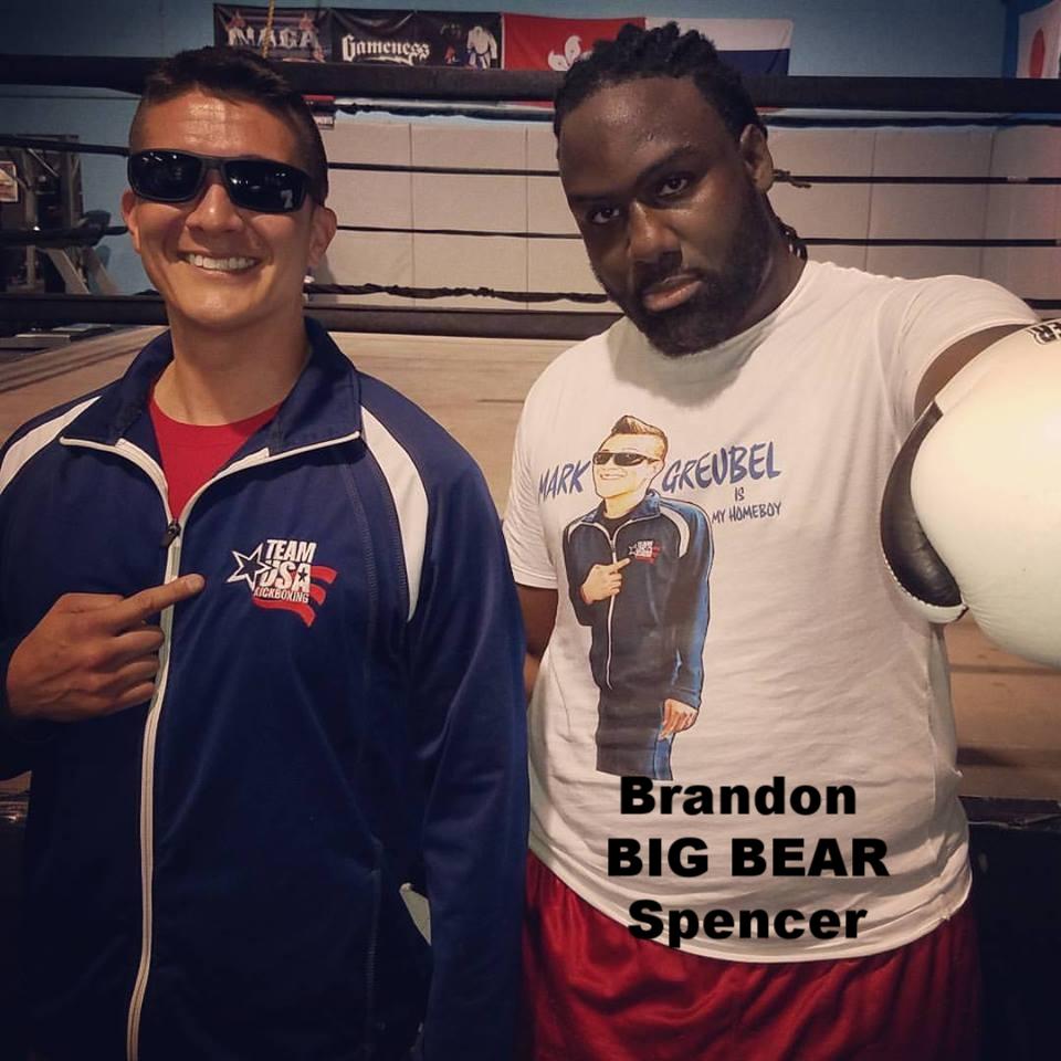 "Brandon ""BIG BEAR"" Spencer wearing Mark Greubel is my homeboy t-shirt"