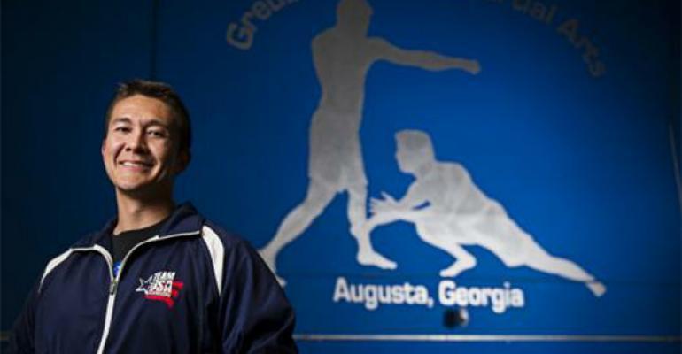 Mark Greubel wearing the TEAM USA KICKBOXING uniform at  Greubel's MMA  in Augusta, GA.