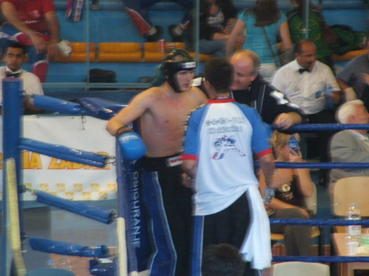 Me cornering Nathan Key in the finals in 2006 at the WAKO junior World Championships in Croatia with only 10 moths of training!. The smile on Rob Zbilski's face tells you how we thought the fight was going.