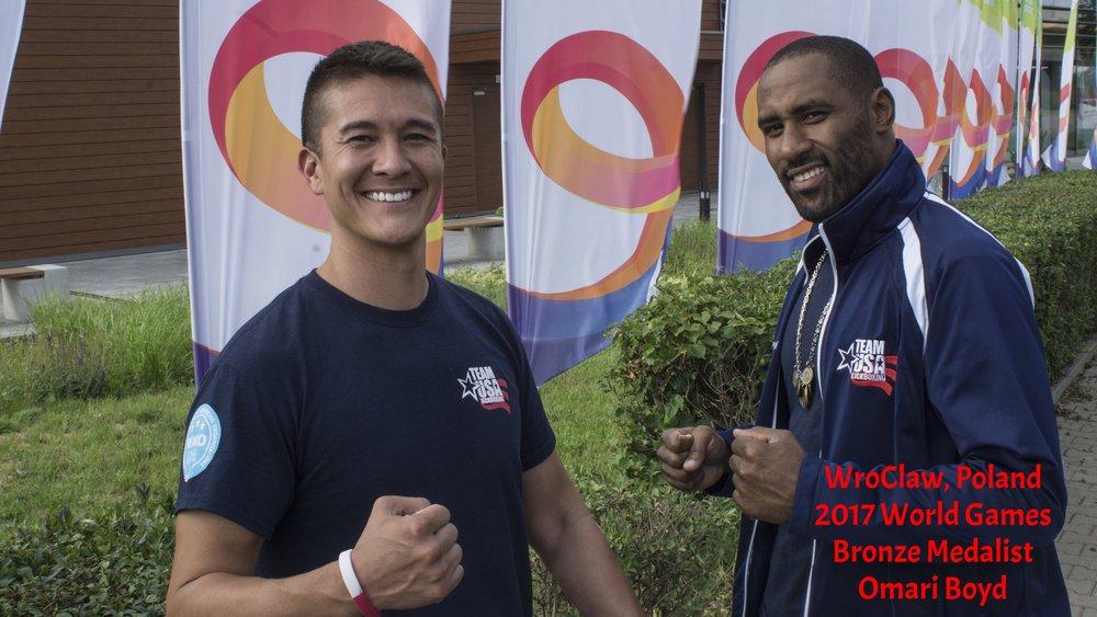 Mark Greubel with Omari Boyd at World Games 2017
