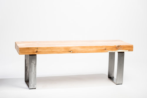 Timber Frame Reclaimed Wood Bench with metal legs — Shawni - Wood ...