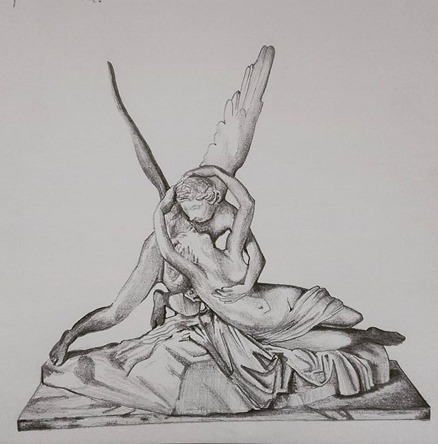 Was finding painting a struggle so went for drawing a beautiful statute of Cupid's kiss - love the pose of the couple and found it very calming!