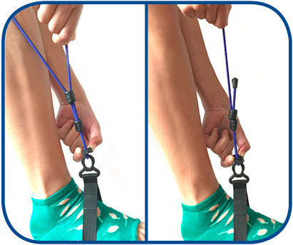 4.  To shorten leg bungees, squeeze both sides of adjuster while pulling up loose bungee. To lengthen, squeeze adjuster while pulling long side of bungee upwards.