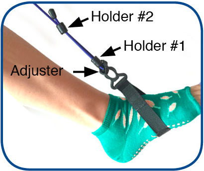 5.  Slip bungee holder #1 to the bottom of the loose bungee touching the adjuster. And holder #2 to the top of the loose bungee towards the end cap.