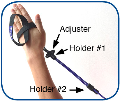 8.  Make sure the arm bungee adjuster is on your left hand. Slip holder #1 towards the adjuster and holder #2 towards the loose bungee with black end cap.