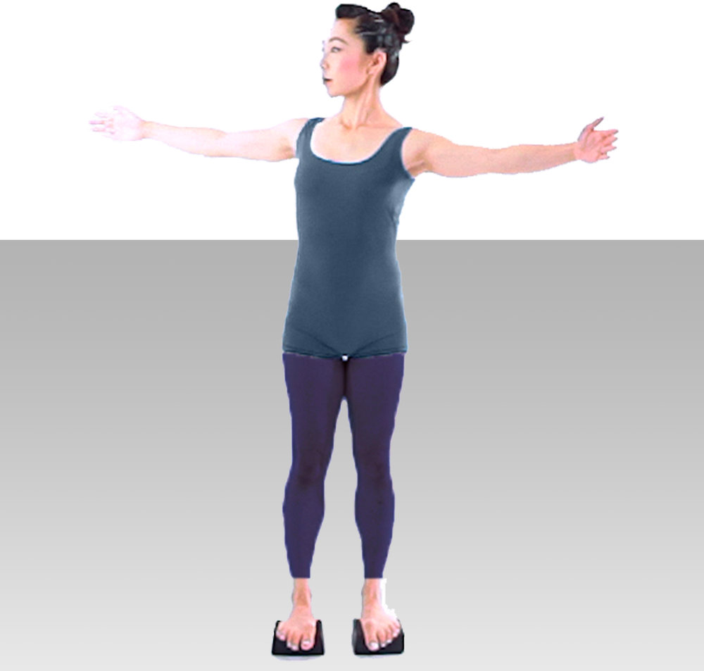 6. BALANCE   Turn MINIS™ over so flat side is on top. Stand and practice balancing. Touch a wall or chair for support. Gradually raise arms to shoulder level and attempt to balance. Just  standing on these MINIS™ you experience micro movements throughout your body as it naturally finds a balance and center.
