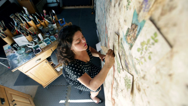 LA Times - How artist Sandy Rodriguez tells today's fraught immigration story with pre-Columbian painting tools