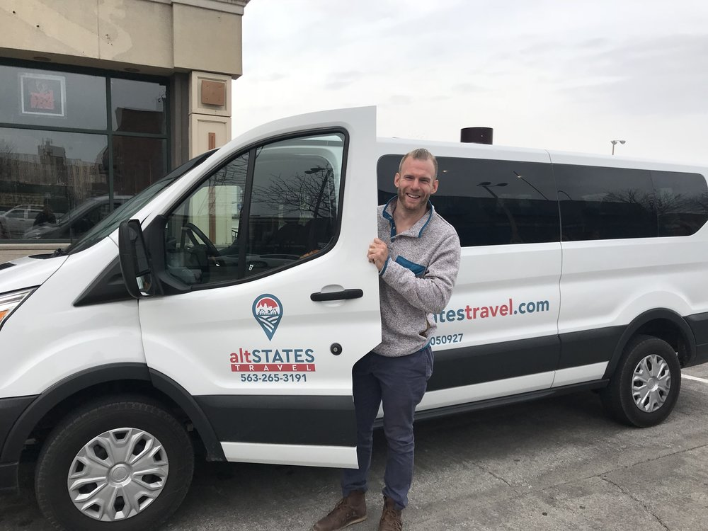 Founder/van driver/tour guide, brendan, with our van (his name is travis)