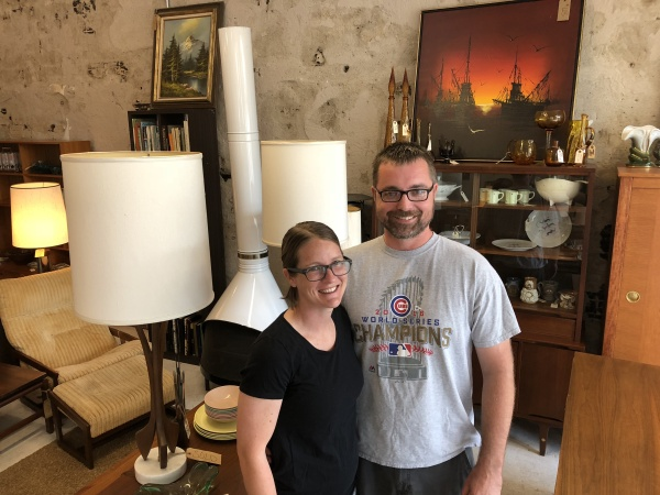 Michelle and Jim surrounded by many of their store's retro items (including a fireplace that I desperately want).