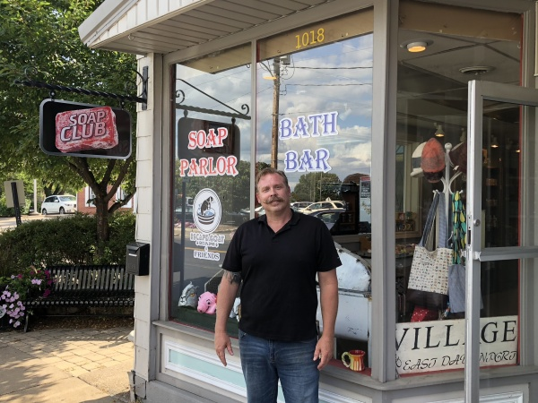 Matt in front of his shop (or should I say soap parlor?).