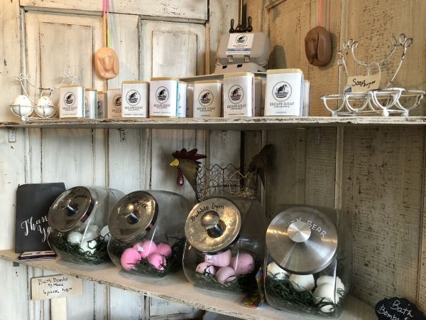 Some of Escape Goat's soaps and bath bombs, which are made in the back of his store.