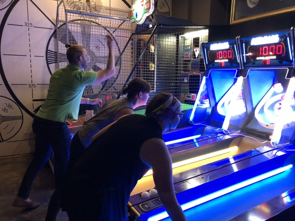 Brendan  and fellow  Coworkqc  members play (and very occasionally win) in a Monday night skeeball league at Analog.