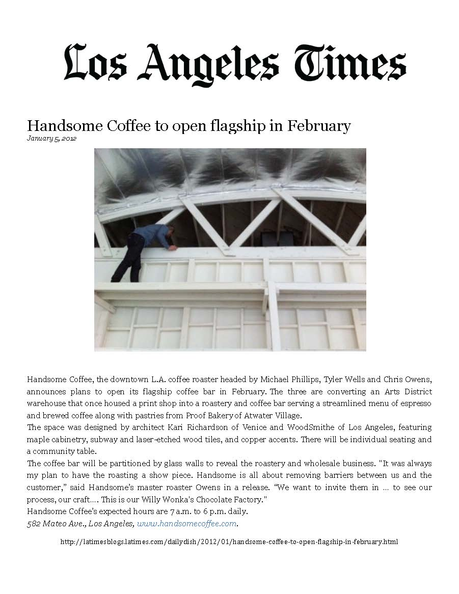 Handsome Coffee to open flagship in February: LA Times — DI