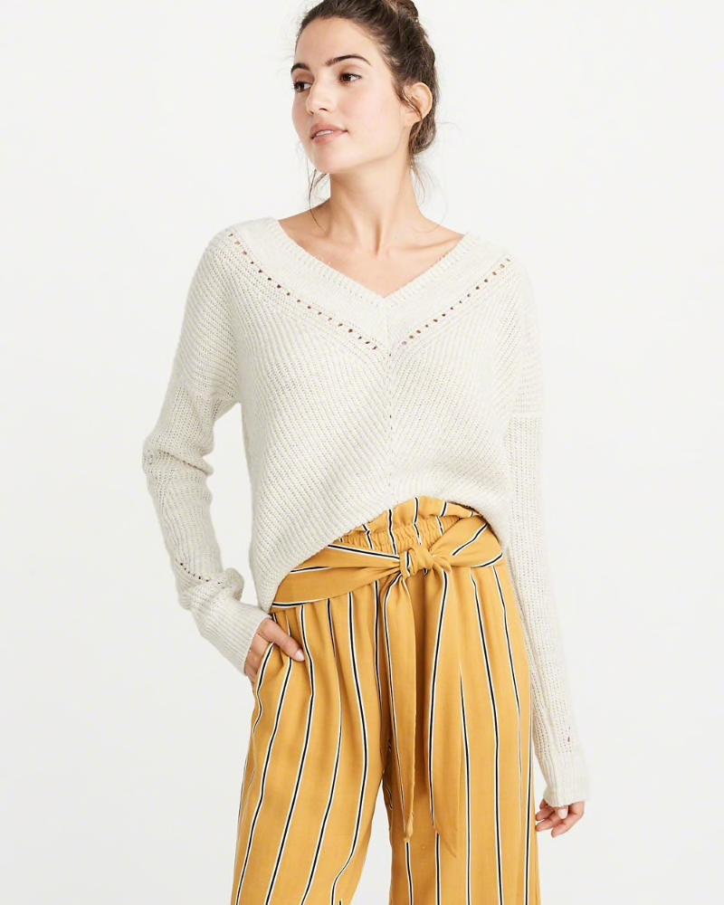 AF Womens V-Neck Pointelle Sweater $68