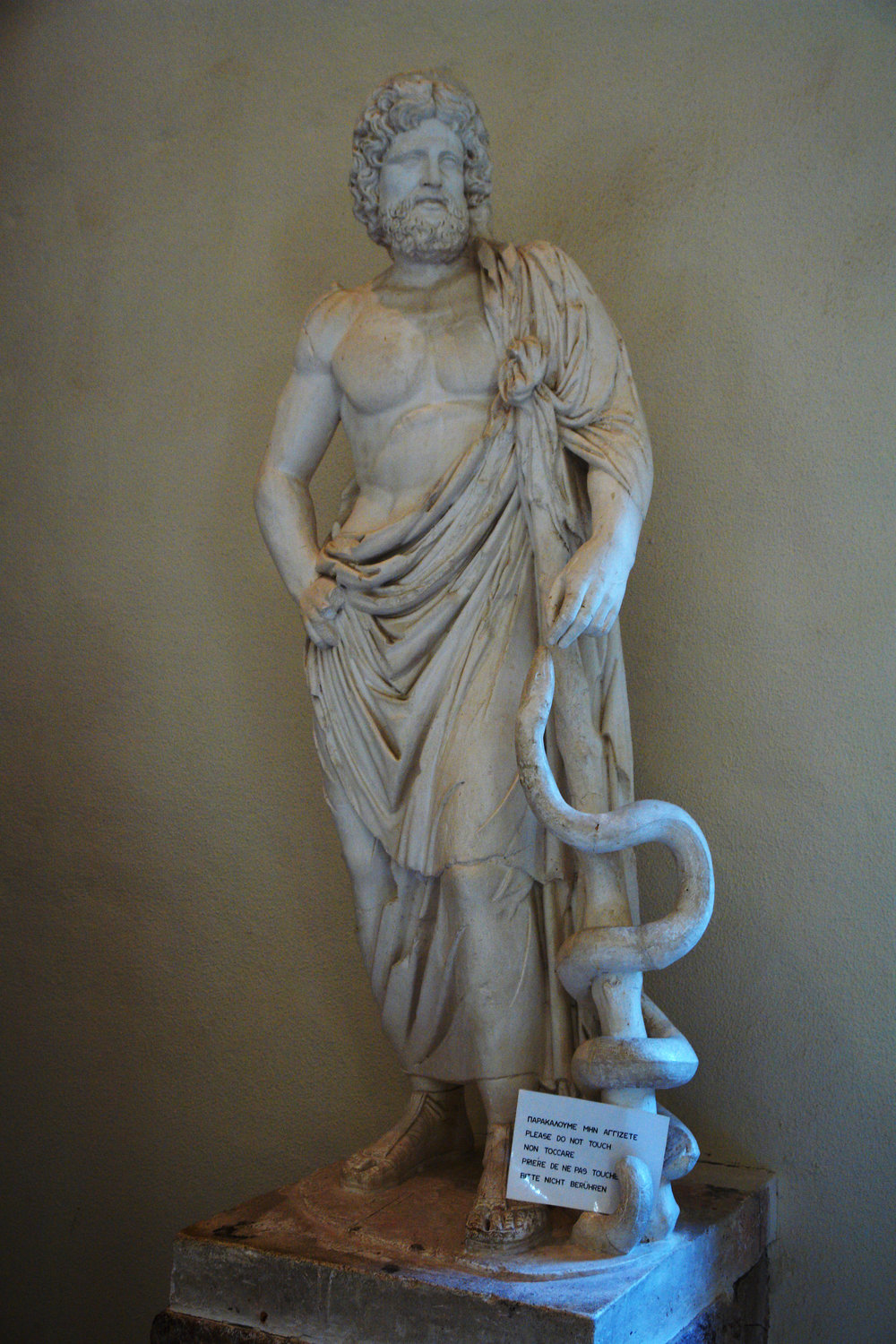 Asclepius with his serpent-entwined staff, Archeological Museum of Epidaurus, Greece. He definitely looks like he consumes a Mediterranean diet and gets his exercise, doesn't he?