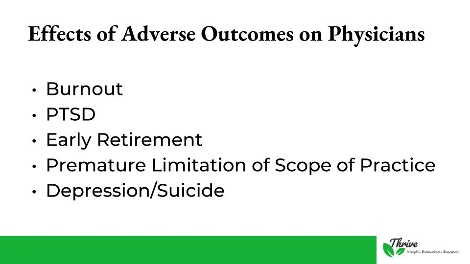 Effects of Adverse Patient Outcomes on Physicians
