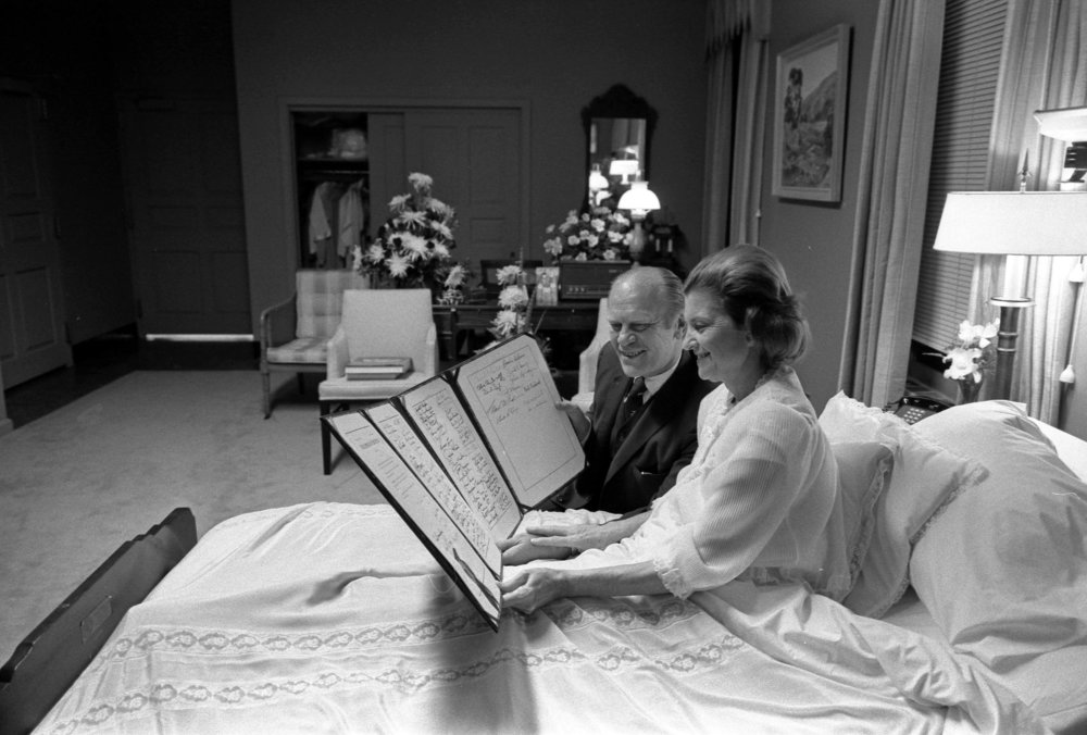 First Lady Betty and President Gerald Ford at Bethesda Naval Hospital after her surgery. October, 1974