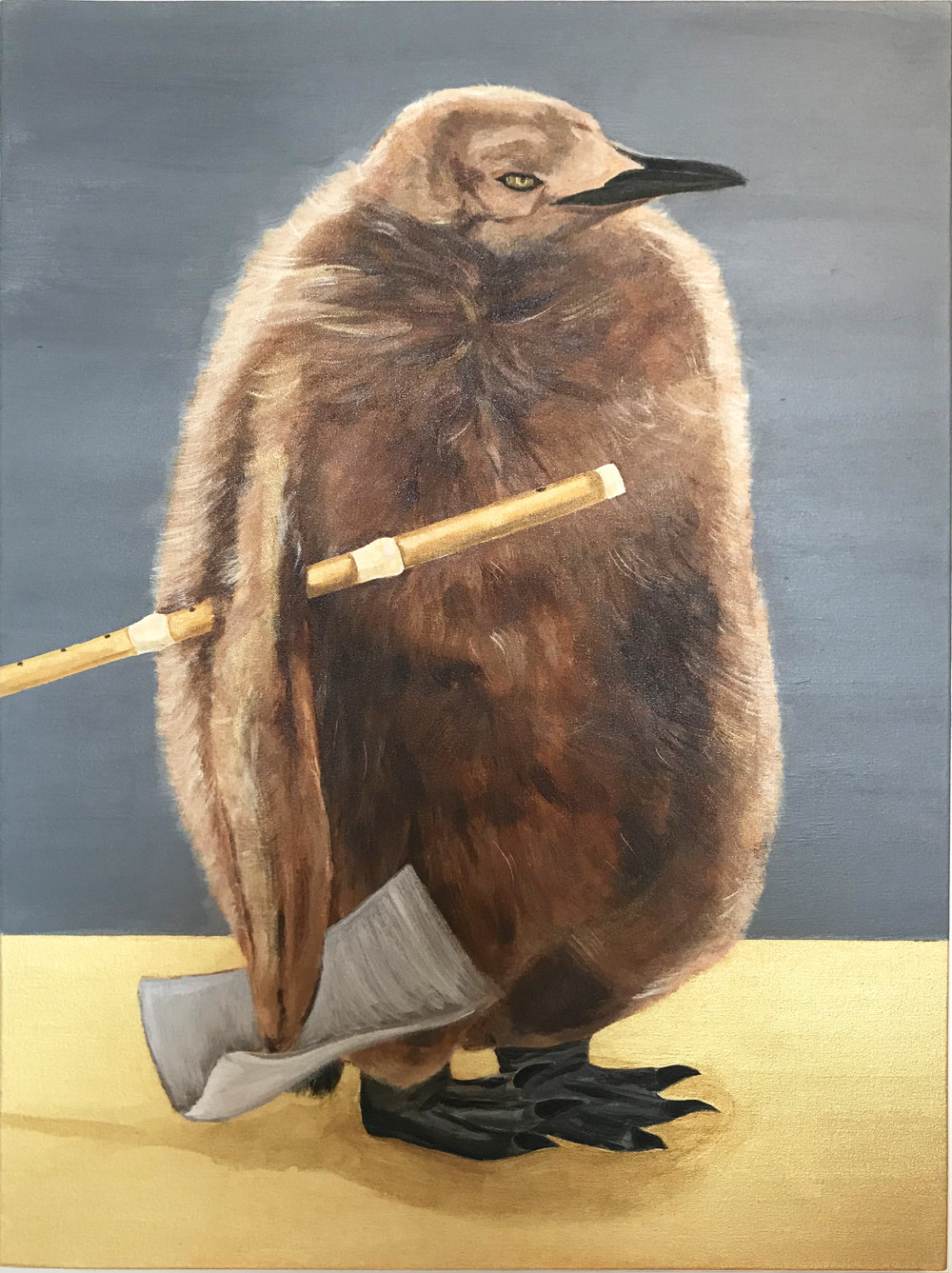 "Penguin, Acrylic on Canvas, 30""x40"", 2018"