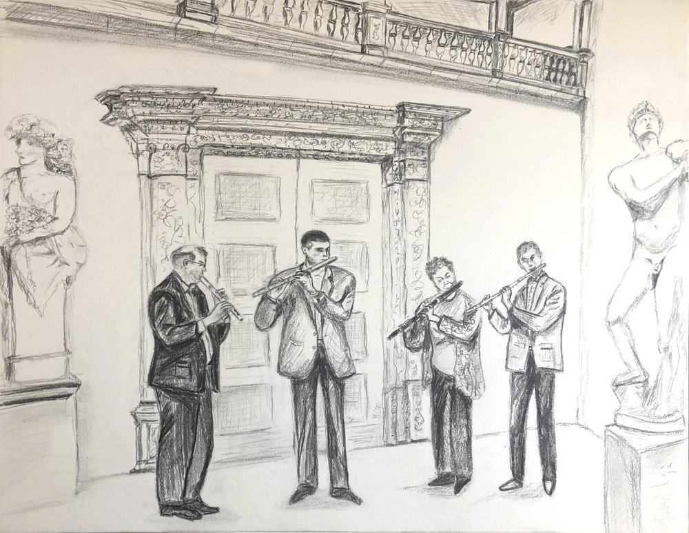 "Four Flutists at the Metropolitan Museum, Pencil on Paper, 11""x14"", 2018 (sold)"