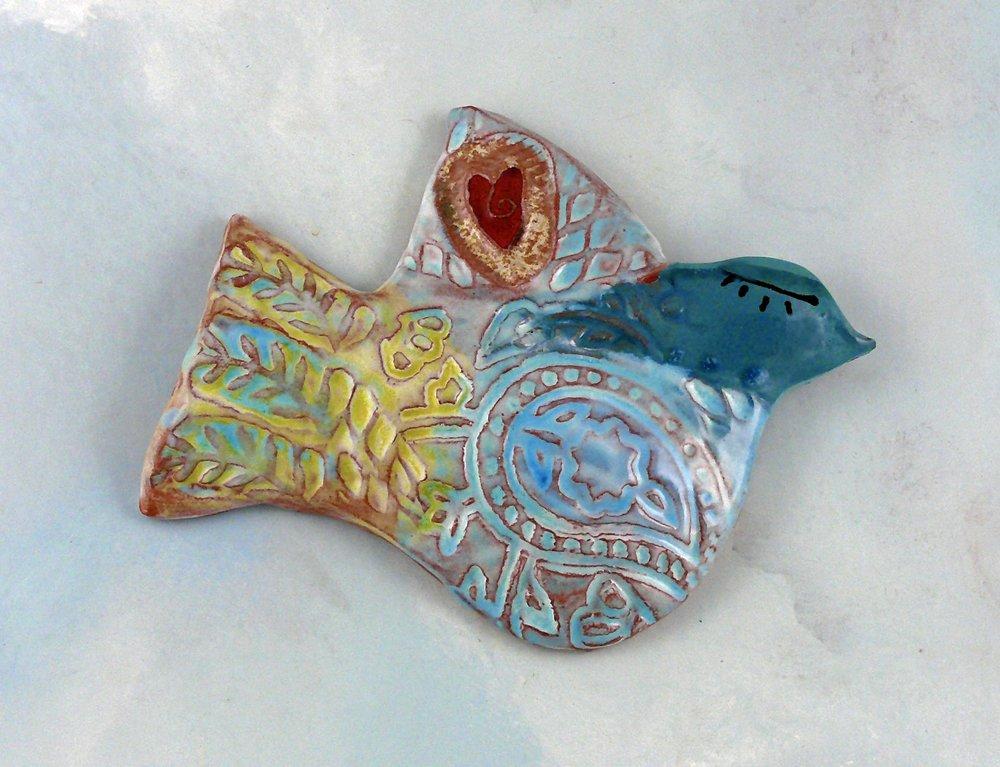 Ceramic Wall Bird  Cathy Kiffney   www.cathykiffney.com
