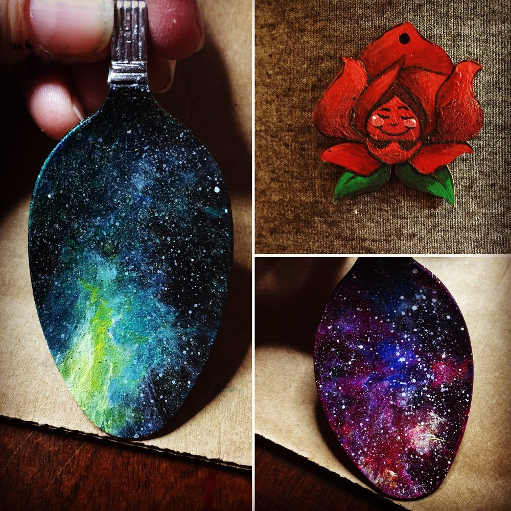Galaxy spoons and Red Rose