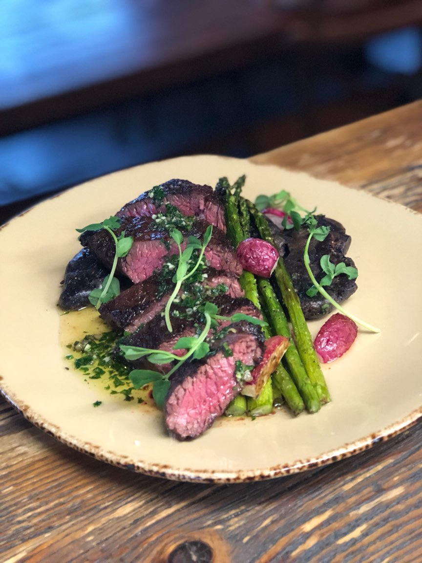 Hanger steak, chimichurri, crushed fingerlings, roasted asparagus, radish