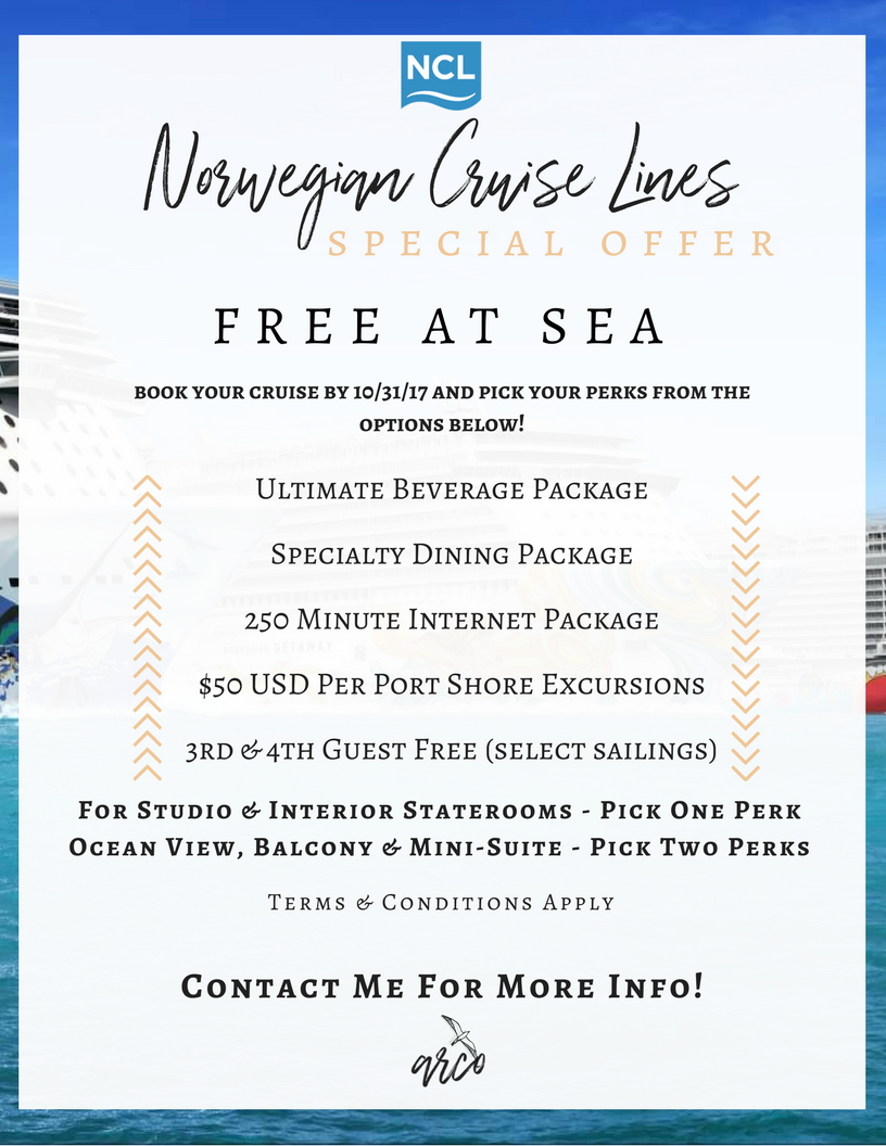 Norwegian Cruise Lines   Free at Sea   Cruise Specials   Norwegian Cruise Line Deals   Cheap Cruises   October Specials   Cruise Vacations   Ashley Rae Co.