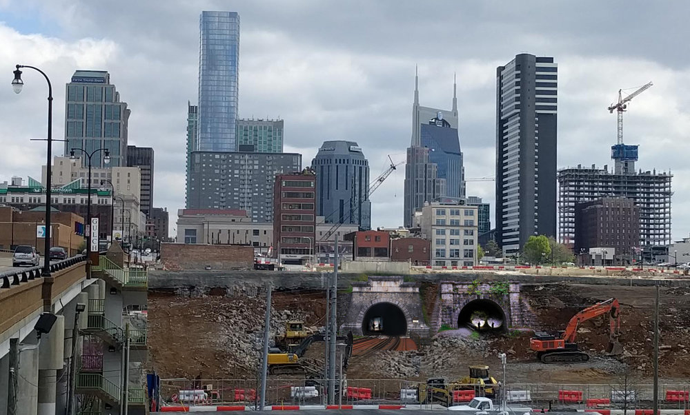 Historic Subway tunnels being excavated at Nashville Yards construction site