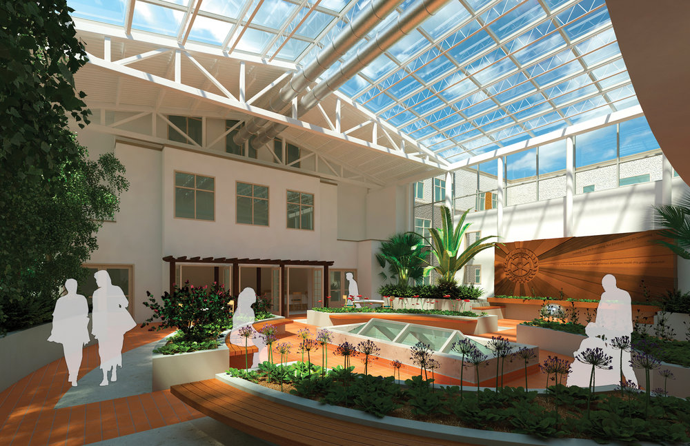 An artist rendering of the 3,000-square-foot atrium being built at Bethany Riverview. This year-round space provides a vital gatheirng area for residents, family members, caregivers and more.