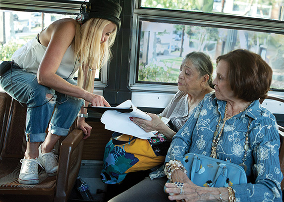 Director Susie Singer Carter works with actors Valerie Harper and Liz Torres before filming a scene in  My Mom and the Girl . Photo by Tibrina Hobson Photography