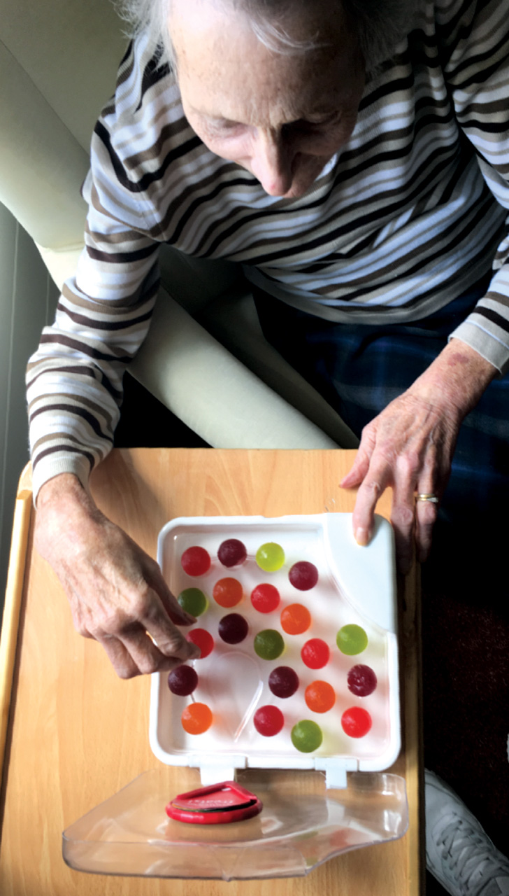 Lewis Hornby's grandmother, Pat, enjoys a box of Jelly Drops. Photo courtesy Lewis Hornby.