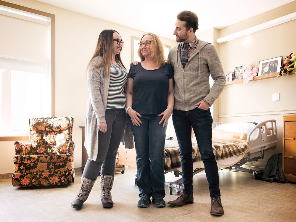 Samantha Palmer-Forrest with her mom, Shawn, and brother, Alex, at Shawn's care facility. Photo by Jared Sych.