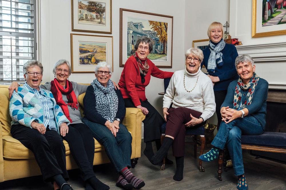 The Memory Plus Alumni Group. From left: Sue Singleton, Marilee Jasper, Diane Poole, Meta Wieser, Bev Will, Norma Whitney and Annette Koelwyn. Photo by Bryce Meyer Photography.