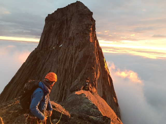 Climbing on Mt. Stetind, Norway's national mountain. In summer the sun dips towards the horizon but does not set.