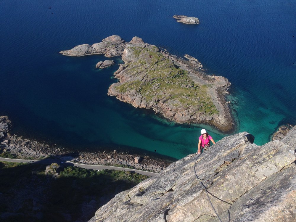 Climbing on Presten's West Pillar, Lofoten Islands