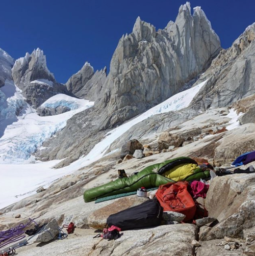 """The moment we realized we were 12 hours too late getting to the base of Cerro Torre after two days of beast mode."" Photo by Michelle Kadatz."