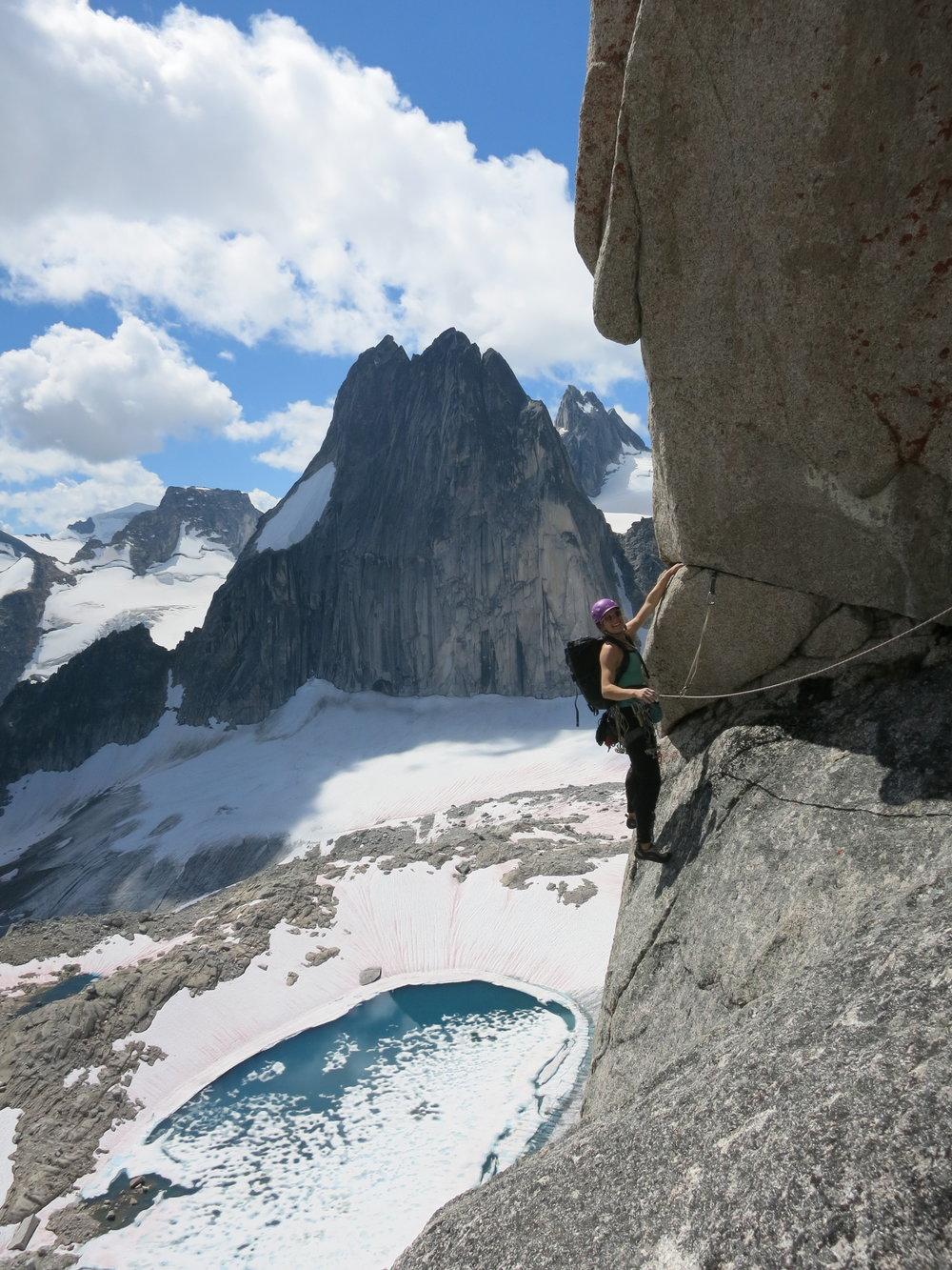 Hannah Preston climbing on Crescent Spire. Photo: Jasmin Caton