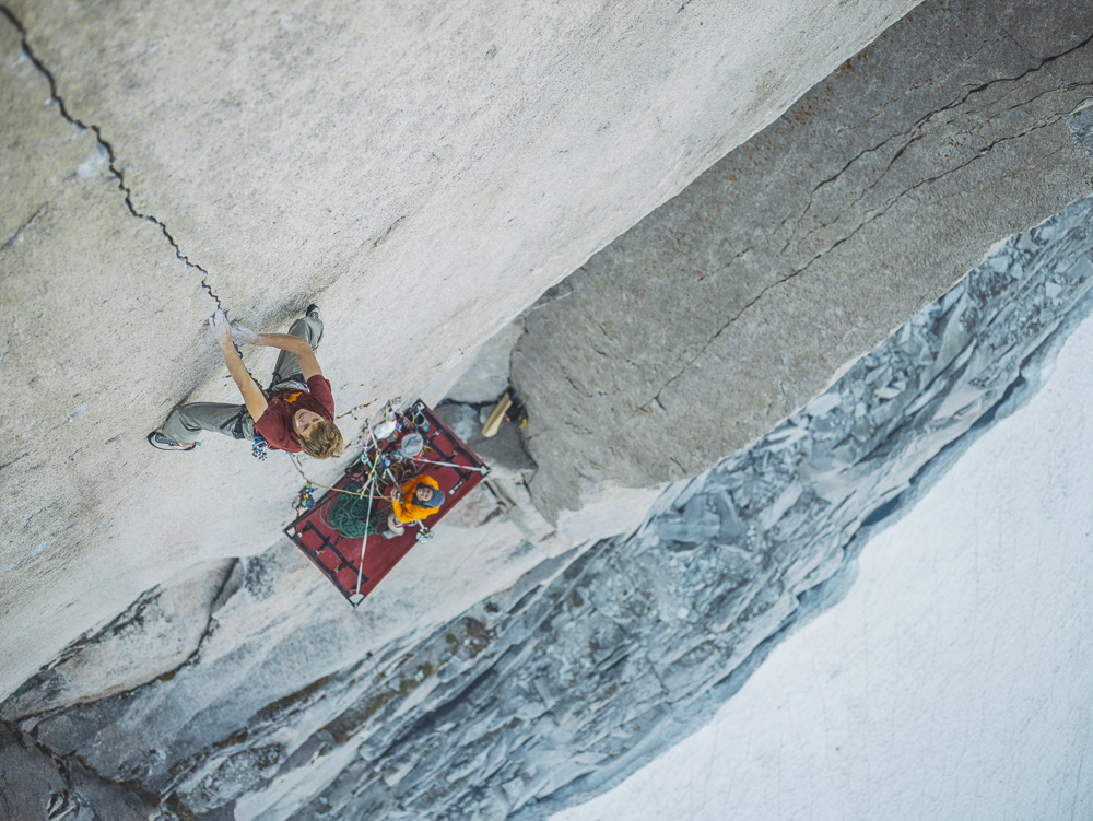 Will on the FFA of the Tom Egan Memorial route (5.14) Bugaboos, BC  Photo: Tim Kemple