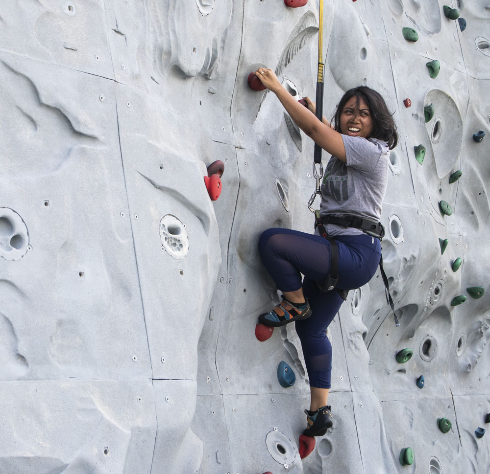 My meager attempt at the rock wall. Fun fact: I rappelled and gently, but embarrassingly landed on my ass.